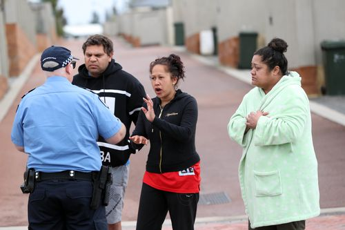 Police were seen speaking to people outside the home in Brixton Crescent yesterday morning. Picture: AAP