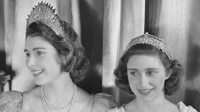 Princess Margaret Queen Elizabeth wearing tiaras
