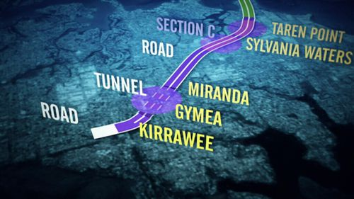 The controversial Section C of the motorway would wipe out homes in Miranda, Gymea and Kirrawee. (9NEWS)