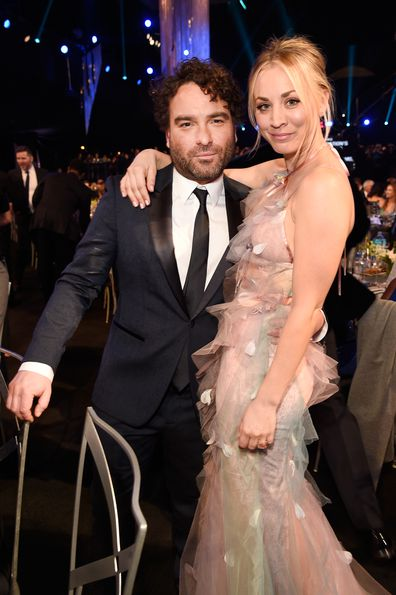 Kaley Cuoco and Johnny Galecki at the Screen Actors Guild Awards in 2017.