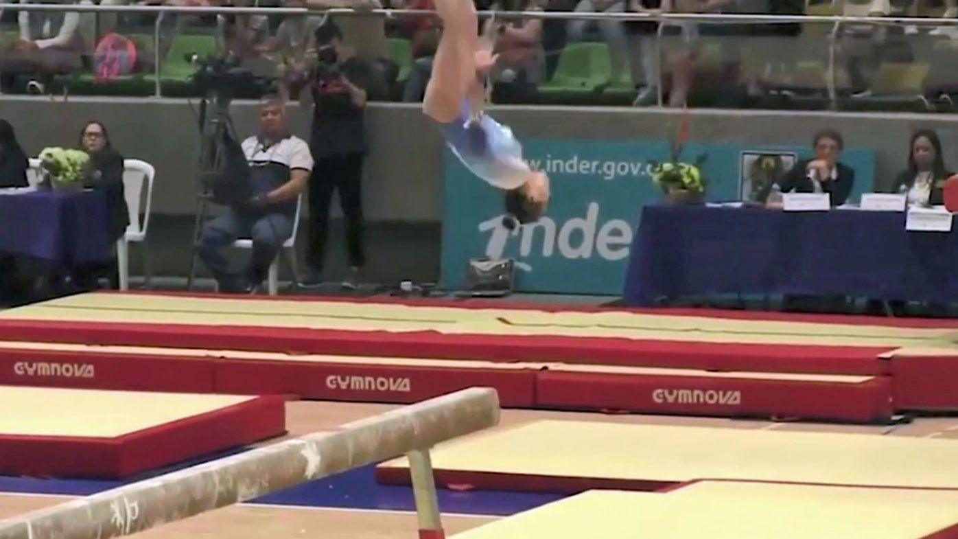 US gymnast Morgan Hurd in horror fall at Pacific Rim Championships in Colombia