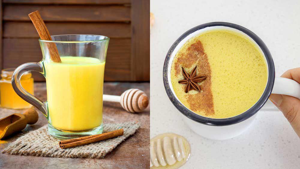 Turmeric tea v turmeric latte (aka dirty golden, golden latte). Image: iStock