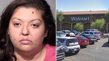 Rebecca Gonzales is accused of punching her seven-year-old son as he was 'not a good enough lookout' for his grandmother as she shoplifted at Walmart.