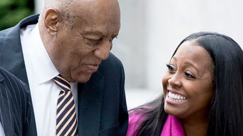 Bill Cosby talks to Keshia Knight Pulliam, who played his daughter Rudy on the sitcom The Cosby Show. (AAP)