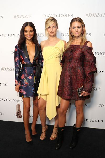 Shanina Shaik, Bridget Malcolm and Jesinta Franklin, David Jones spring/summer '17 launch, Sydney