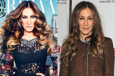 SJP was aggressively airbrushed for <i>Harpers Bazaar</i> China in 2013.