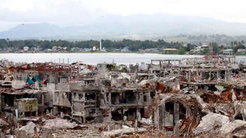 A general view of battle damaged Marawi City in the Southern Philippines on October 17, 2017 (GETTY)