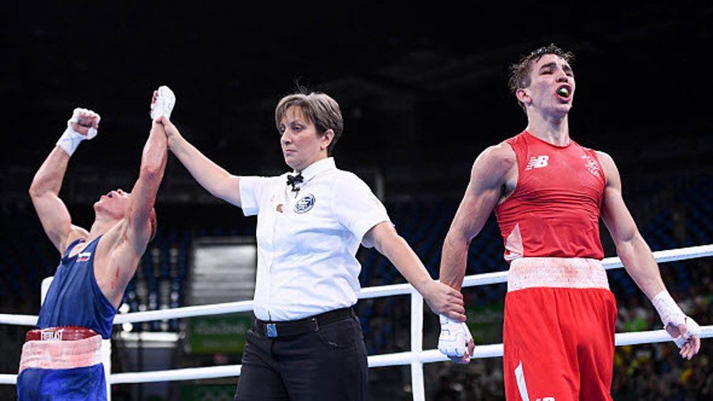 Irish boxer Michael Conlan reacts to his loss to Vladimir Nikitin. (Getty)