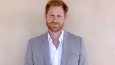 Prince Harry appears during the virtual ceremony for The Diana Award