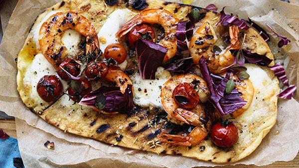 Lemon chilli Australian prawn and radicchio pizza