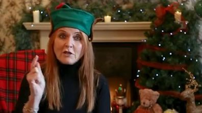 Sarah, Duchess of York, shares a message to sick children dressed in an elf hat.