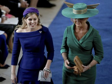 Princess Beatrice and mother Sarah Ferguson at Princess Eugenie's wedding, October 2018.