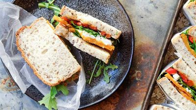 "<a href=""Roasted pumpkin, feta, rocket and capsicum sandwich  http://kitchen.nine.com.au/2017/02/06/11/11/roasted-pumpkin-feta-rocket-and-capsicum-sandwich  More vegetarian recipes  http://kitchen.nine.com.au/content/2016/06/06/21/47/vegetarian-favourites-for-meatfreemonday "" target=""_top"">Roasted pumpkin, feta, rocket and capsicum sandwich</a><br> <br> <a href=""http://kitchen.nine.com.au/content/2016/06/06/21/47/vegetarian-favourites-for-meatfreemonday"" target=""_top"">More vegetarian recipes</a><br> <br>"