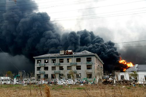 The force of the blast from a chemical plant explosion was so strong, windows were shattered on buildings as far as six kilometres away.