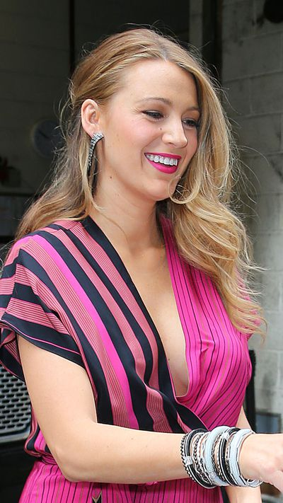 Blake embraces some Latino flair with the front of her hair loosely pulled back.