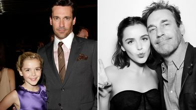 Mad Men stars Kiernan Shipka and Jon Hamm in 2010 and 2019