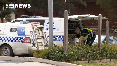Police at the scene in Bundoora this morning.