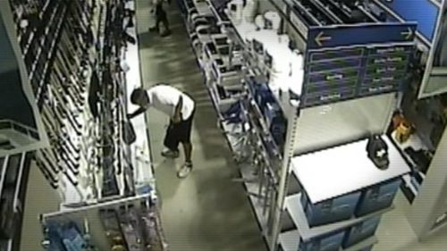 Cullen was spotted on CCTV buying fishing knives in the lead-up to his wife's death. (Supplied)