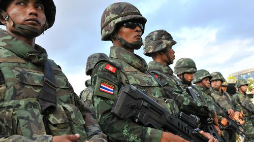 Thai soldiers in Bangkok. (Getty)