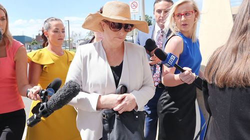 Julene Thorburn arrives at the Beenleigh Court on charges of perjury and attempting to pervert the course of justice. (AAP)