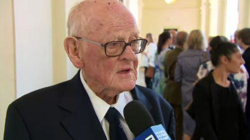 Patrick Caher collected his late father's posthumous honour for bravery. (9NEWS)