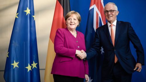Mr Turnbull and Dr Merkel both voiced their support for a possible free trade deal between Australia and the European Union. Picture: AAP.