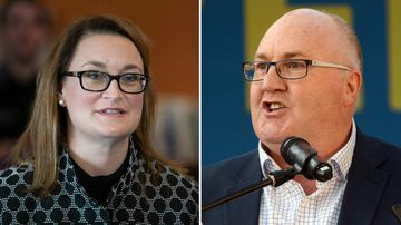 Labor's Justine Keay and former Liberal MP Brett Whiteley are campaigning hard in Braddon. (AAP)