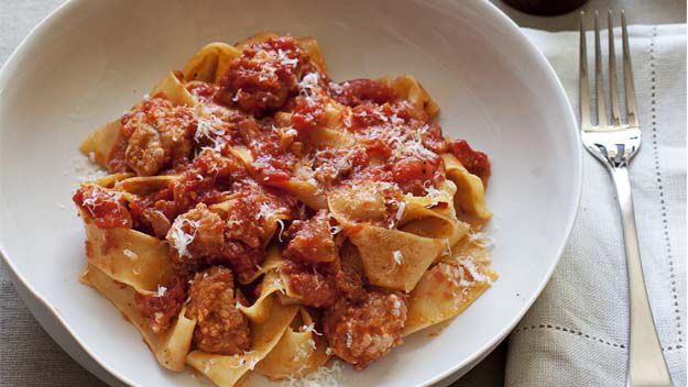 Pappardelle with pork sausage & salami