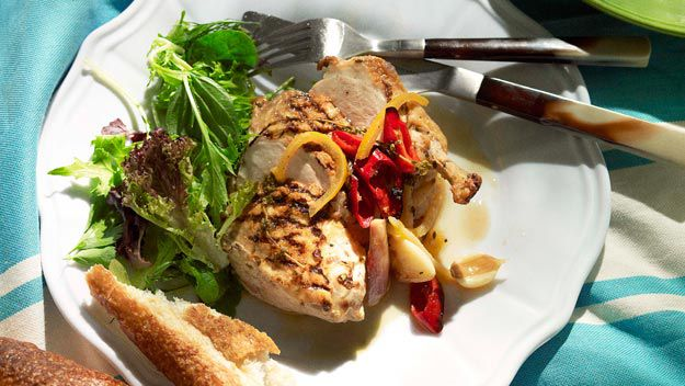 Grilled chicken with roast shallots, preserved lemon & chilli