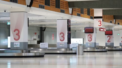 The Qantas arrivals area at Sydney domestic airport.