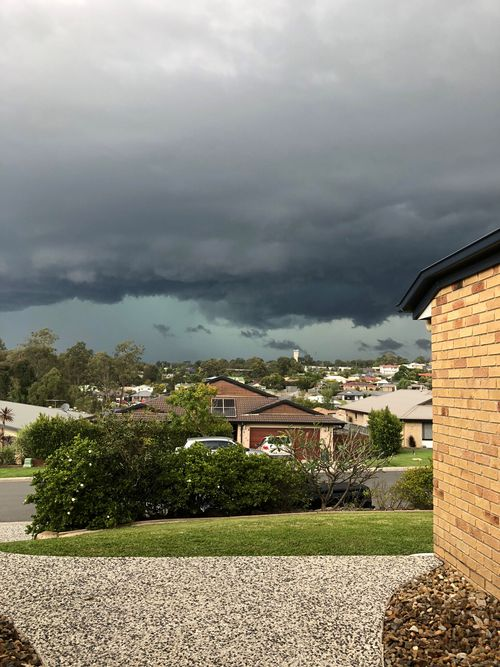 The storm rolling into Narangba at 2.30pm.