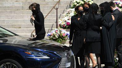 Charlotte Casiraghi, Princess Stephanie of Monaco, Pauline Ducruet, Princess Caroline of Hanover, Melanie Antoinette de Massy and Louis Ducruet leave the Monaco Cathedral after Elizabeth-Ann De Massy's funeral on June 17, 2020 in Monaco, Monaco