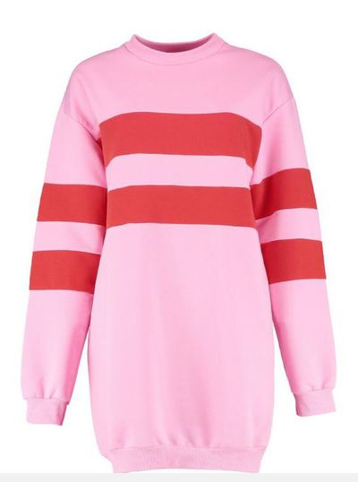 "Boohoo<a href=""https://au.boohoo.com/lill-colour-block-stripe-sweat-dress/DZZ27376.html"" target=""_blank"" draggable=""false"">Lill Colour BlockStripe Sweat Dress</a>, $21.60"