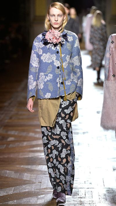 The girls' penchant for clashing prints is realised in this Dries look.