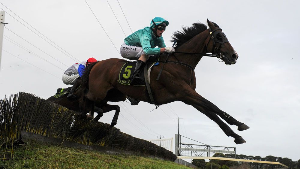 Brad McLean riding Valediction jumping the Tozer Road double before winning Race 6, the Brierly Steeplechase during Brierly Day at Warrnambool Race Club. (Getty)