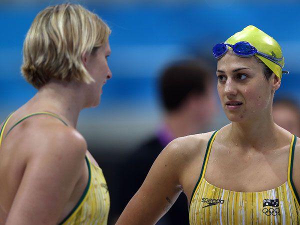 Leisel Jones and Stephanie Rice. (AAP)