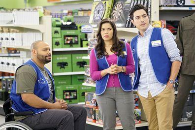 Colton Dunn as Garrett, America Ferrera as Amy, Ben Feldman as Jonah on Superstore.