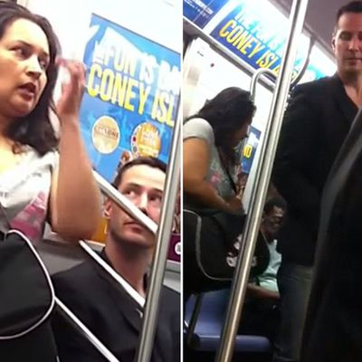 He gives up his seat on the subway