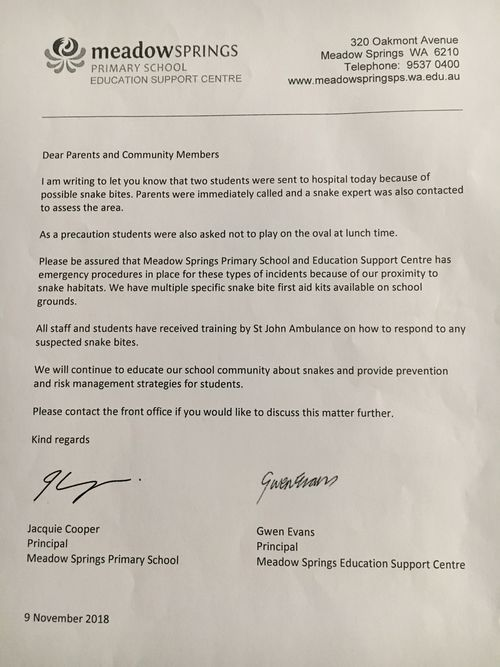 """This note was sent home with students on Friday, informing parents that two pupils had been rushed to hospital for """"possible snake bites""""."""