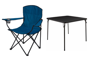 Marquee Black Folding Card Table, Camp Chair