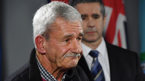 Paul White at today's announcement of the $1 million reward. Picture: AAP