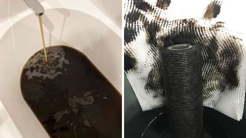 Other disgusted LIthgow residents have posted photos online of brown baths and (right) a discoloured water filter.