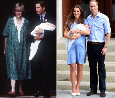 Princess Diana and Kate Middleton Duchess of Cambridge style moments - Lindo Wing Prince William's birth, Prince George's birth