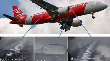 The downed AirAsia Airbus (above) and images from the Singaporean Navy. (Oka Sudiatmika/Supplied)