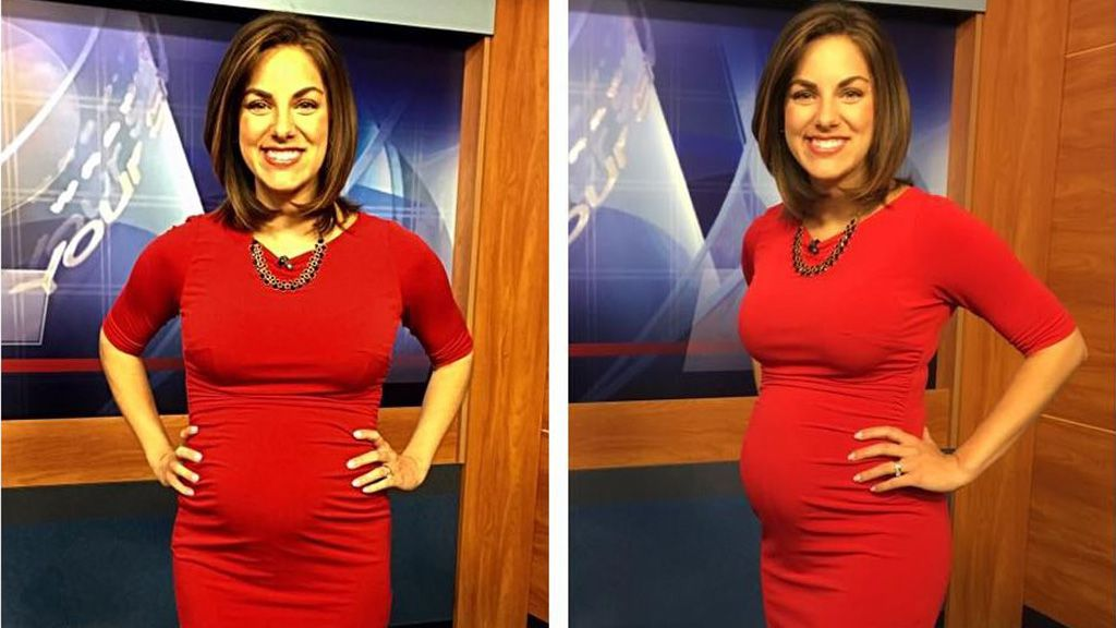Lady in red - perfectly pretty pregnant newsreader Laura Warren. Image: Facebook/Laura Warren