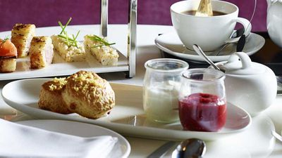 """Recipe: The Wilmot's<a href=""""http://kitchen.nine.com.au/2017/05/12/09/49/lemon-white-chocolate-scones-with-rhubarb-strawberry-gin-jam-and-chantilly-cream"""" target=""""_top"""">Lemon white chocolate scones with rhubarb, strawberry, gin jam and chantilly cream</a>"""