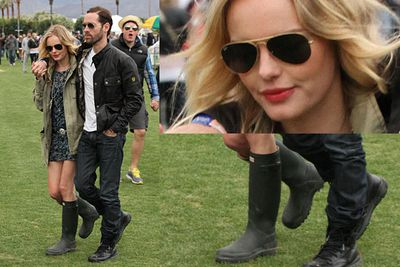 Wellies: The ultimate music festival footwear.<br/><br/>Woodstock wannabes: Hollywood stars dress up to look dressed down as they mingle with the crowd at US music festival Coachella.