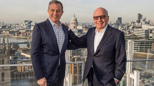 Walt Disney chief executive Bob Iger and Fox owner Rupert Murdoch. (AAP)