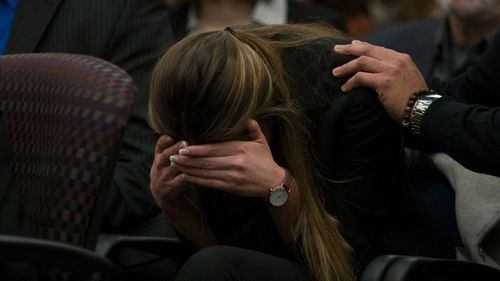 Victim Kyle Stephens reacts during court proceedings. (AAP)