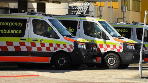 Ambulances outside John Hunter Hospital.